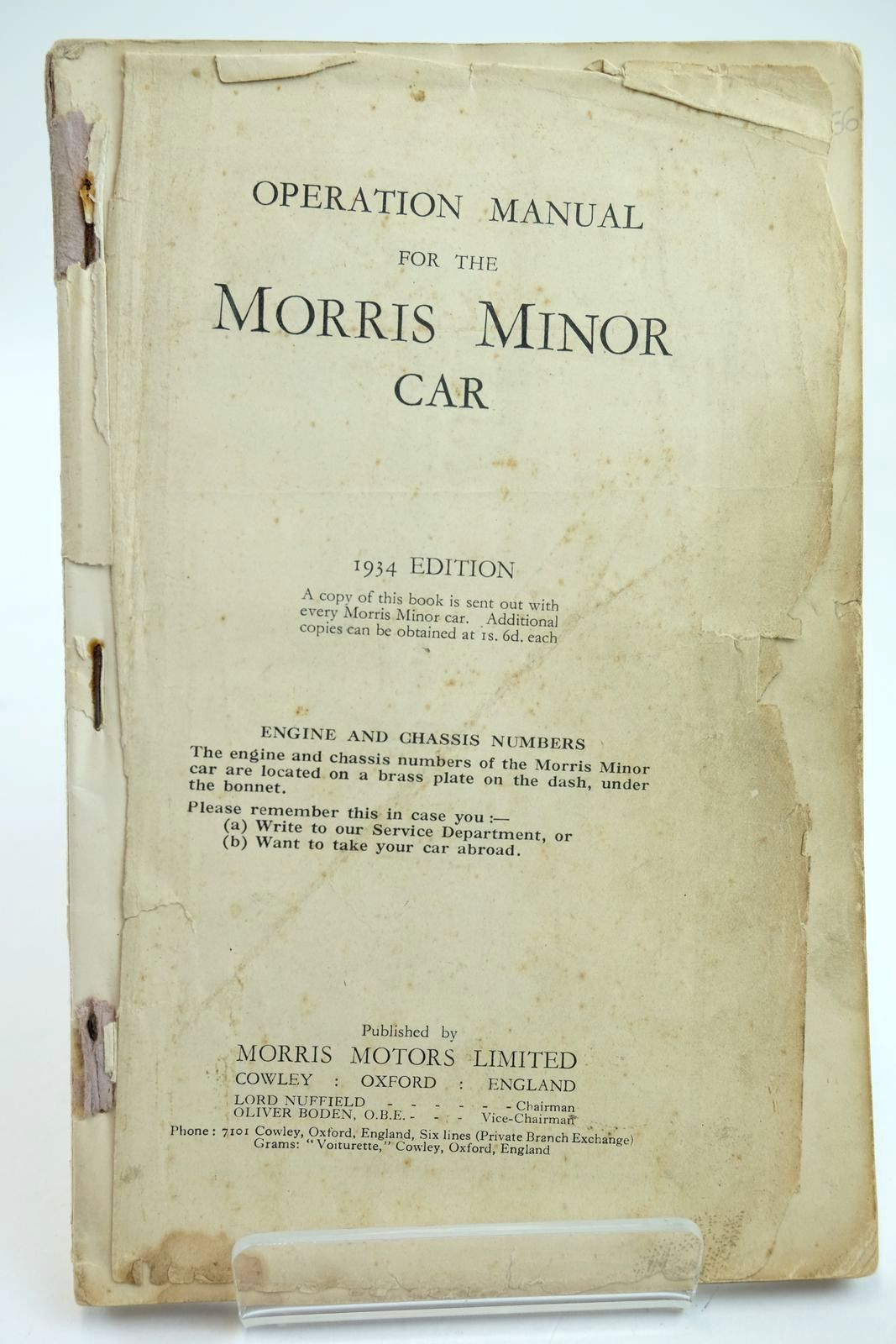 Photo of OPERATION MANUAL FOR THE MORRIS MINOR CAR published by Morris Motors Limited (STOCK CODE: 2132266)  for sale by Stella & Rose's Books