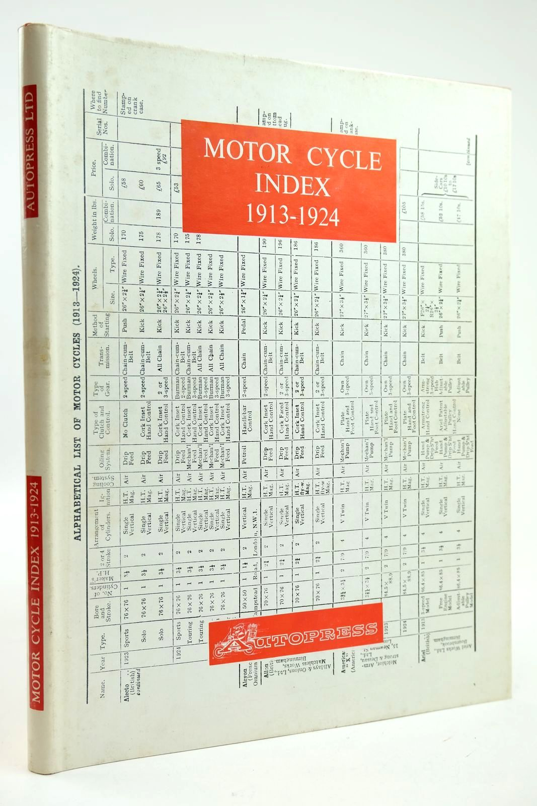 Photo of MOTOR CYCLE INDEX 1913 - 1924 written by Ball, Kenneth published by Autopress (STOCK CODE: 2132276)  for sale by Stella & Rose's Books