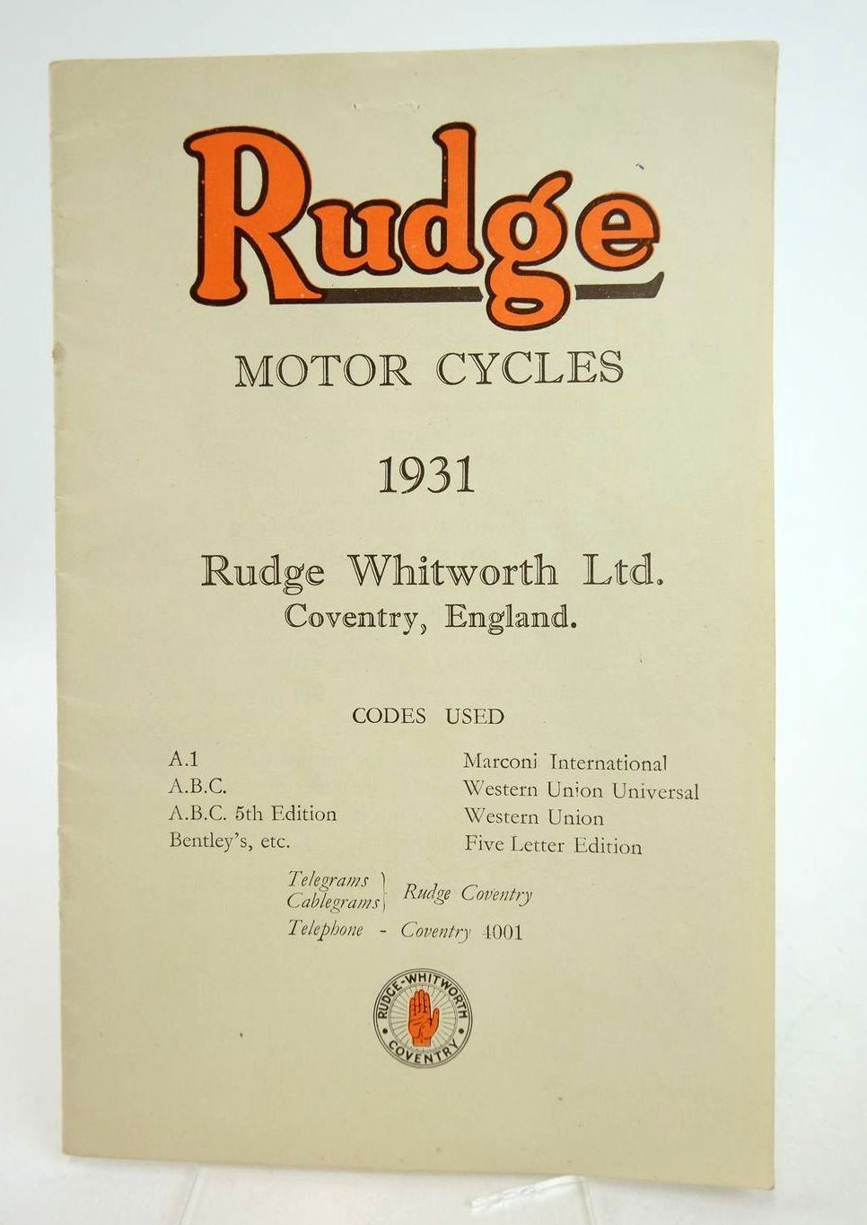 Photo of RUDGE MOTOR CYCLES 1931 published by Rudge-Whitworth Ltd. (STOCK CODE: 2133183)  for sale by Stella & Rose's Books