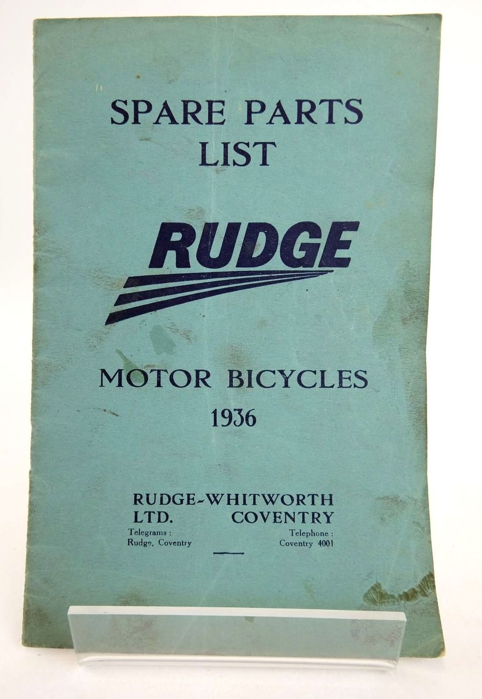 Photo of SPARE PARTS LIST RUDGE MOTOR BICYCLES 1936- Stock Number: 2133193