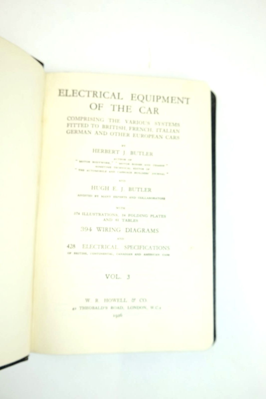 Photo of ELECTRICAL EQUIPMENT OF THE CAR (3 VOLUMES) written by Butler, Herbert J. Butler, Hugh published by W.R. Howell & Co. (STOCK CODE: 2133366)  for sale by Stella & Rose's Books