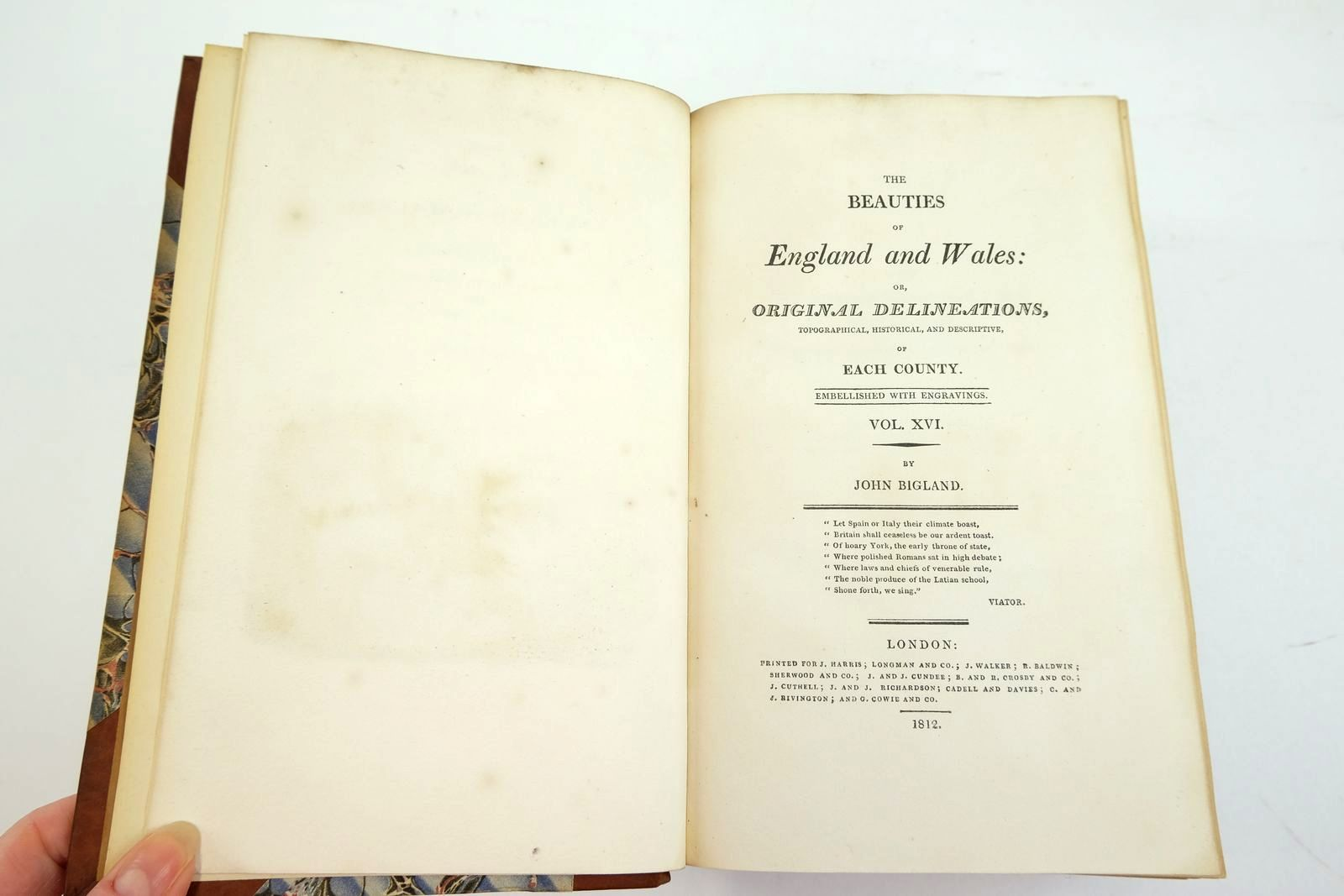 Photo of THE BEAUTIES OF ENGLAND AND WALES VOL. XVI: YORKSHIRE written by Bigland, John published by J. Harris, Longman And Co., J. Walker, Sherwood & Co., Cadell & Davies (STOCK CODE: 2134135)  for sale by Stella & Rose's Books