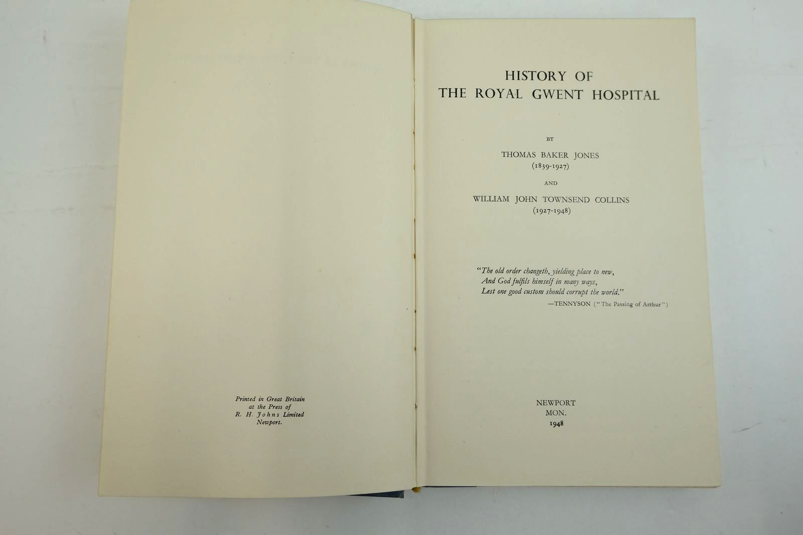 Photo of HISTORY OF THE ROYAL GWENT HOSPITAL 1839-1948 written by Jones, Thomas Baker Collins, W.J. Townsend published by R.H. Johns (STOCK CODE: 2134442)  for sale by Stella & Rose's Books