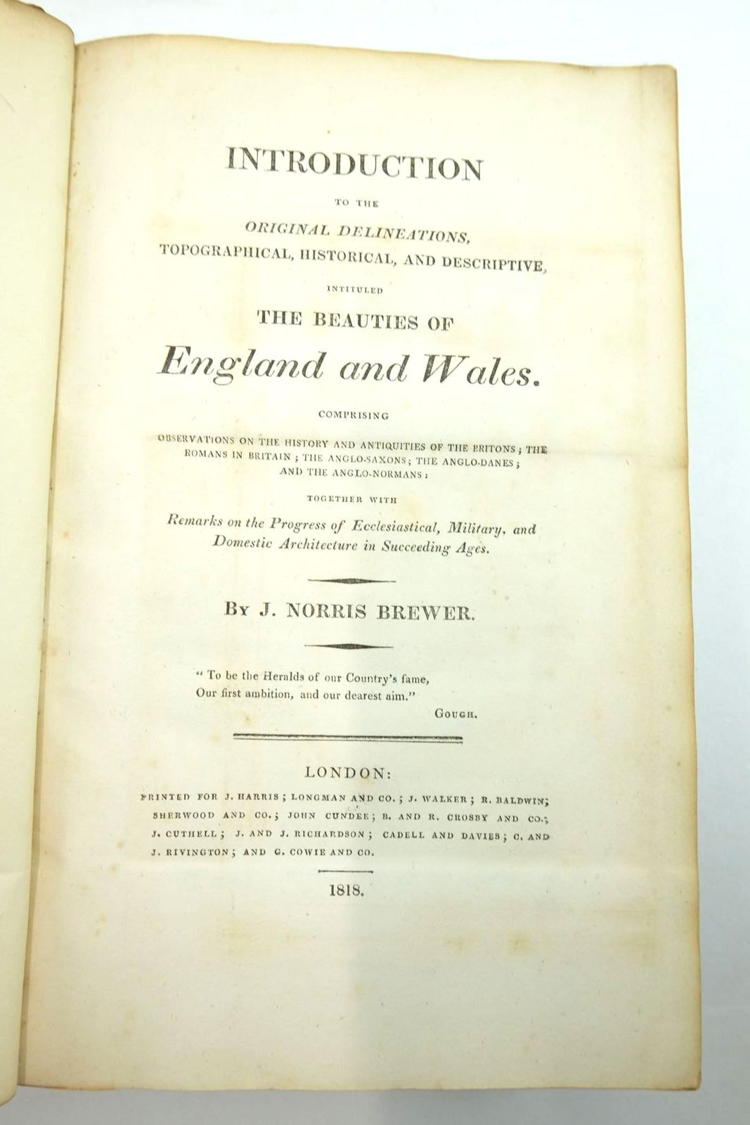 Photo of INTRODUCTION TO THE ORIGINAL DELINEATIONS, TOPOGRAPHICAL, HISTORICAL AND DESCRIPTIVE, INTITULED THE BEAUTIES OF ENGLAND AND WALES written by Brewer, J. Norris published by J.Harris, Longman And Co. (STOCK CODE: 2134497)  for sale by Stella & Rose's Books