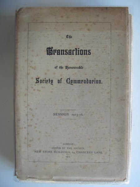 Photo of THE TRANSACTIONS OF THE HONOURABLE SOCIETY OF CYMMRODORION SESSION 1915-16- Stock Number: 557476