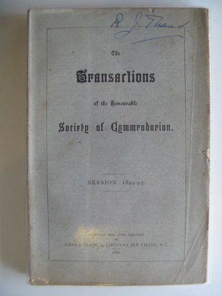 Photo of THE TRANSACTIONS OF THE HONOURABLE SOCIETY OF CYMMRODORION SESSION 1894-95 published by The Honourable Society of Cymmrodorion (STOCK CODE: 557480)  for sale by Stella & Rose's Books