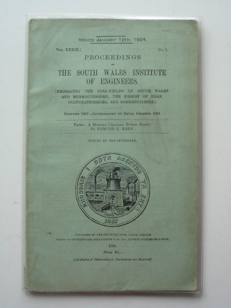 Photo of PROCEEDINGS OF THE SOUTH WALES INSTITUTE OF ENGINEERS VOL XXXIX- Stock Number: 560479