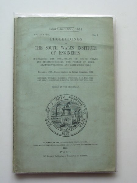 Photo of PROCEEDINGS OF THE SOUTH WALES INSTITUTE OF ENGINEERS VOL XXXVIII- Stock Number: 560481