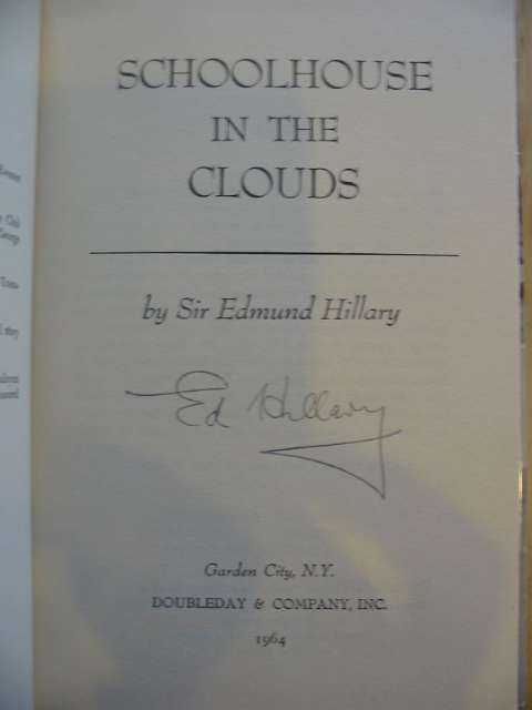 Photo of SCHOOLHOUSE IN THE CLOUDS written by Hillary, Edmund published by Doubleday & Company, Inc. (STOCK CODE: 570381)  for sale by Stella & Rose's Books