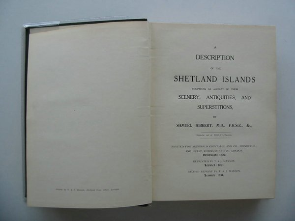 Photo of A DESCRIPTION OF THE SHETLAND ISLANDS- Stock Number: 572122