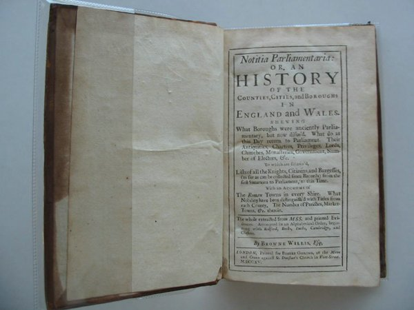 Photo of NOTITIA PARLIAMENTARIA OR AN HISTORY OF THE COUNTIES, CITIES AND BOROUGHS IN ENGLAND AND WALES written by Willis, Browne published by Robert Gosling (STOCK CODE: 576351)  for sale by Stella & Rose's Books
