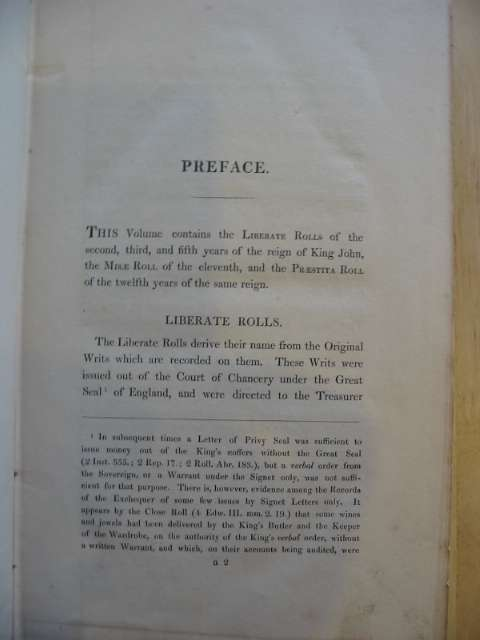 Photo of ROTULI DE LIBERATE AC DE MISIS ET PRAESTITIS REGNANTE JOHANNE written by Hardy, Thoma Duffus published by George E. Eyre, Andrew Spottiswoode (STOCK CODE: 592436)  for sale by Stella & Rose's Books