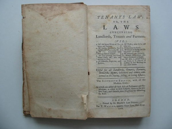 Photo of TENANTS LAW OR THE LAWS CONCERNING LANDLORDS, TENANTS AND FARMERS- Stock Number: 594141