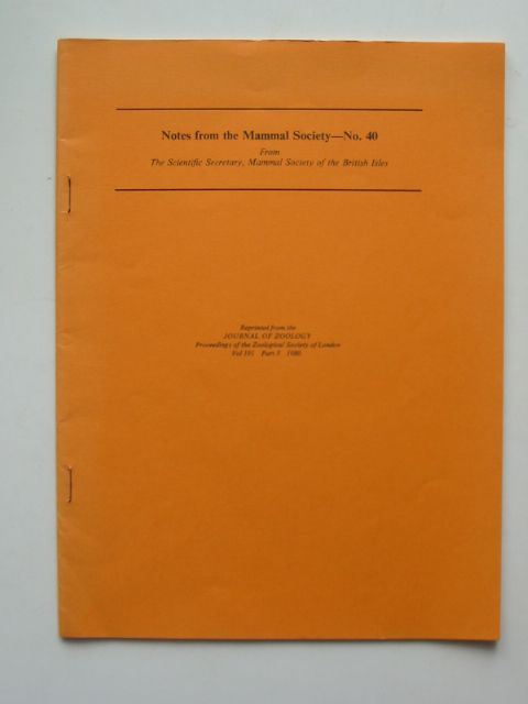Photo of NOTES FROM THE MAMMAL SOCIETY No. 40 published by Zoological Society Of London (STOCK CODE: 596168)  for sale by Stella & Rose's Books