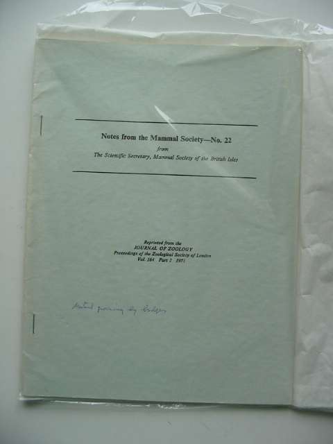 Photo of NOTES FROM THE MAMMAL SOCIETY No. 22 published by Zoological Society Of London (STOCK CODE: 596170)  for sale by Stella & Rose's Books