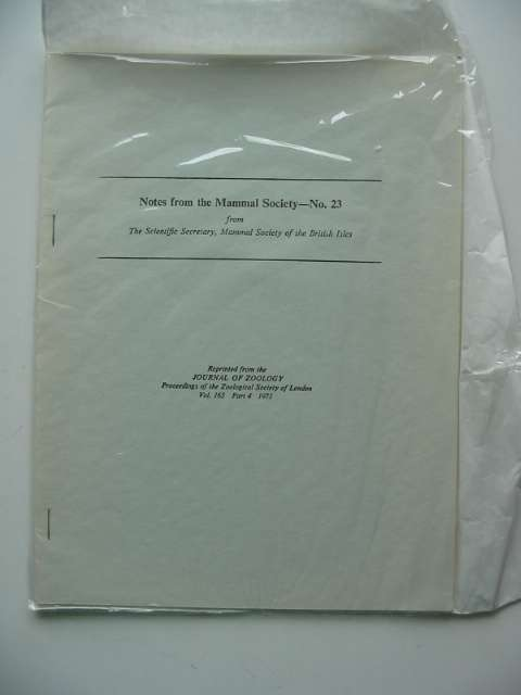 Photo of NOTES FROM THE MAMMAL SOCIETY No. 23 published by Zoological Society Of London (STOCK CODE: 596171)  for sale by Stella & Rose's Books