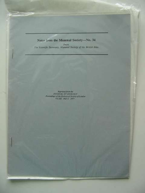 Photo of NOTES FROM THE MAMMAL SOCIETY No. 34 published by Zoological Society Of London (STOCK CODE: 596172)  for sale by Stella & Rose's Books