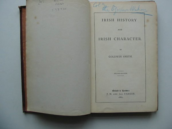 Photo of IRISH HISTORY AND IRISH CHARACTER written by Smith, Goldwin published by J.H. And Jas. Parker (STOCK CODE: 597935)  for sale by Stella & Rose's Books
