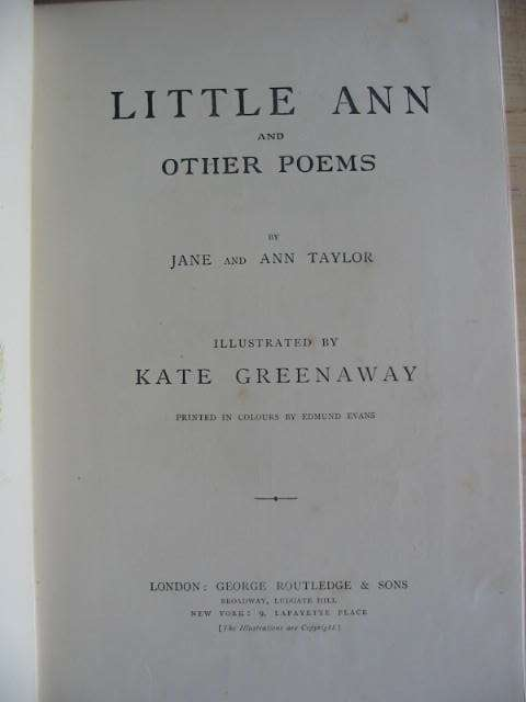 Photo of LITTLE ANN AND OTHER POEMS written by Taylor, Jane Taylor, Ann illustrated by Greenaway, Kate published by George Routledge & Sons (STOCK CODE: 606453)  for sale by Stella & Rose's Books