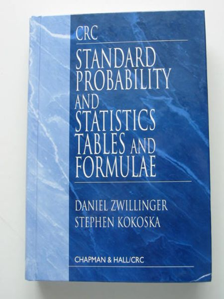 Photo of STANDARD PROBABILITY AND STATISTICS TABLES AND FORMULAE written by Zwillinger, Daniel Kokoska, Stephen published by Chapman & Hall, CRC Press (STOCK CODE: 627953)  for sale by Stella & Rose's Books