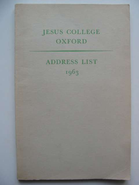 Photo of JESUS COLLEGE OXFORD ADDRESS LIST 1963- Stock Number: 630220