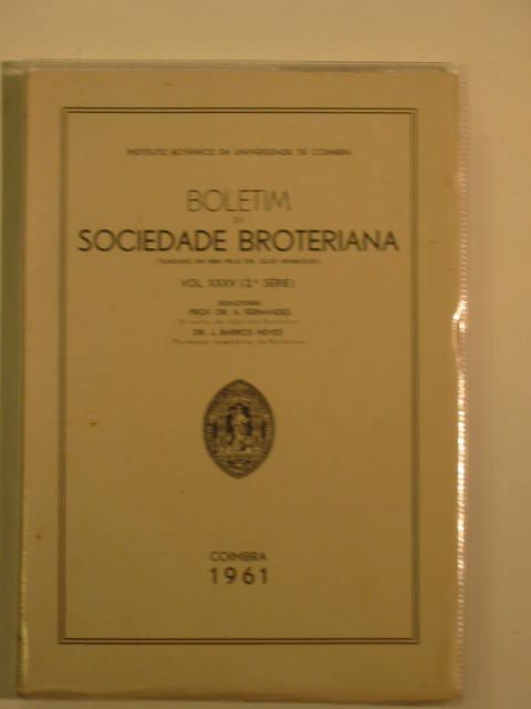 Photo of BOLETIM DA SOCIEDADE BROTERIANA VOL XXXV (2A SERIE)- Stock Number: 695312