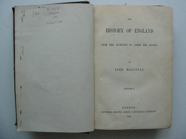 Photo of THE HISTORY OF ENGLAND written by Macaulay, Lord published by Longman, Brown, Green, Longmans & Roberts (STOCK CODE: 806270)  for sale by Stella & Rose's Books