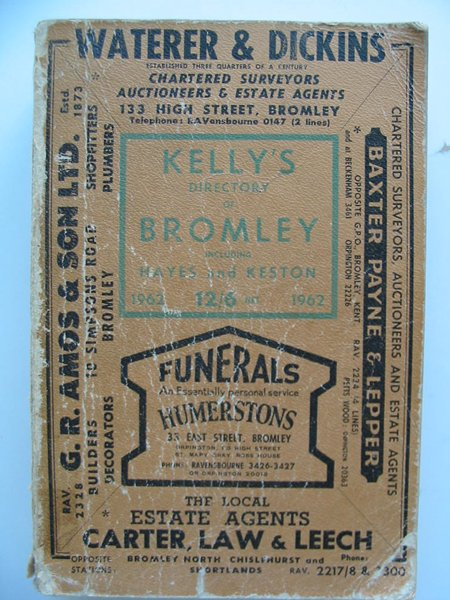 Photo of KELLY'S DIRECTORY OF BROMLEY INCLUDING HAYES AND KESTON published by Kelly's Directories Ltd. (STOCK CODE: 807170)  for sale by Stella & Rose's Books