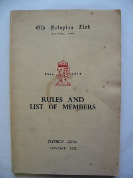 Photo of OLD SALOPIAN CLUB RULES AND LIST OF MEMBERS- Stock Number: 811143