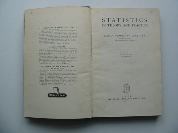 Photo of STATISTICS IN THEORY AND PRACTICE written by Connor, L.R. published by Sir Isaac Pitman & Sons Ltd. (STOCK CODE: 813726)  for sale by Stella & Rose's Books