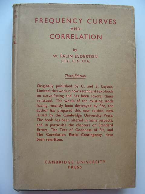 Photo of FREQUENCY CURVES AND CORRELATION written by Elderton, W. Palin published by Cambridge University Press (STOCK CODE: 814463)  for sale by Stella & Rose's Books