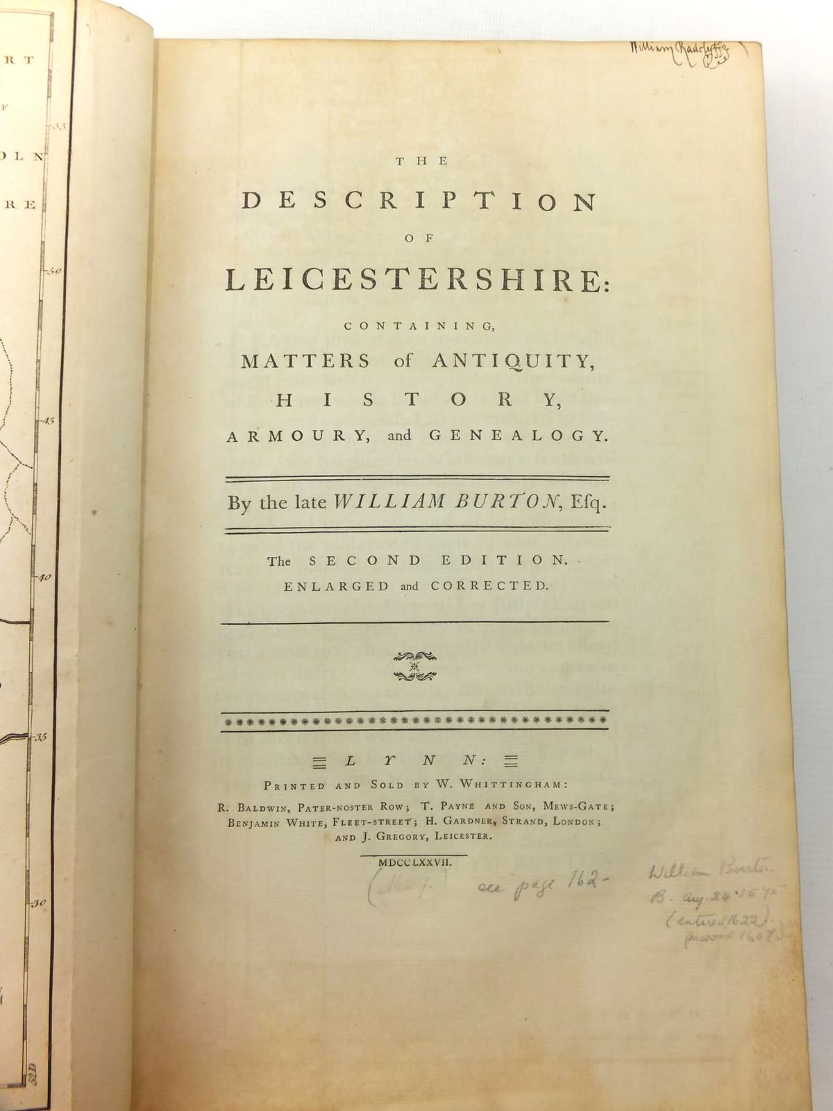 Photo of THE DESCRIPTION OF LEICESTERSHIRE written by Burton, William published by W. Whittingham (STOCK CODE: 816353)  for sale by Stella & Rose's Books
