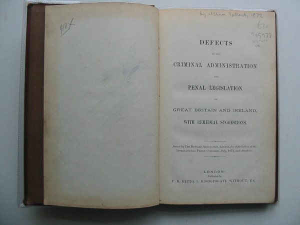 Photo of DEFECTS IN THE CRIMINAL ADMINISTRATION AND PENAL LEGISLATION OF GREAT BRITAIN AND IRELAND WITH REMEDIAL SUGGESTIONS written by Tallack, William published by F.B. Kitto (STOCK CODE: 985978)  for sale by Stella & Rose's Books