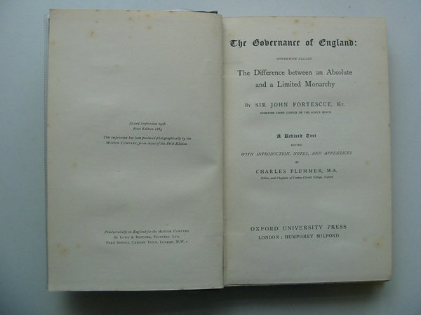 Photo of THE GOVERNMENTS OF ENGLAND written by Fortescue, John Plummer, Charles published by Oxford University Press (STOCK CODE: 988038)  for sale by Stella & Rose's Books