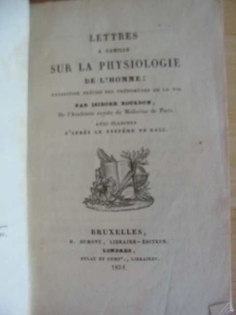 Photo of LETTRES A CAMILLE SUR LA PHYSIOLOGIE DE L'HOMME written by Bourdon, Isidore published by H. Dumont (STOCK CODE: 988419)  for sale by Stella & Rose's Books
