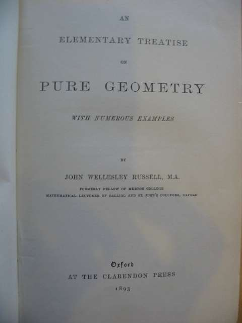 Photo of AN ELEMENTARY TREATISE ON PURE GEOMETRY written by Russell, John Wellesley published by Oxford University Press (STOCK CODE: 990025)  for sale by Stella & Rose's Books