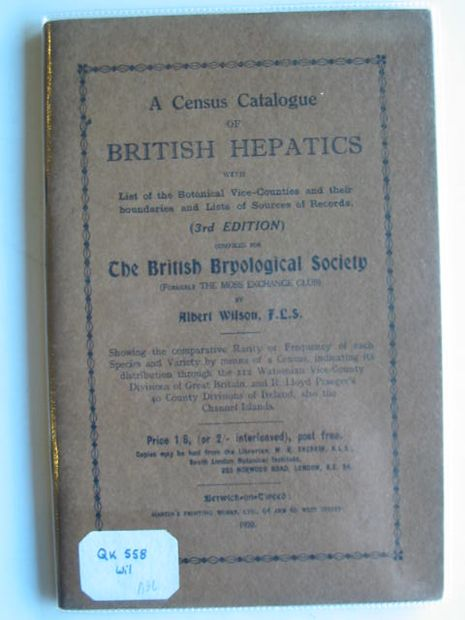 Photo of A CENSUS CATALOGUE OF BRITISH HEPATICS- Stock Number: 990157