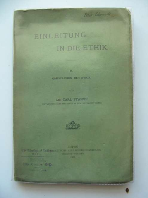 Photo of EINLEITUNG IN DIE ETHIK II written by Stange, Carl published by Dieterich'Sche (STOCK CODE: 990282)  for sale by Stella & Rose's Books