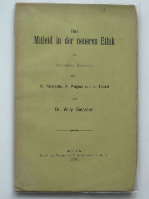Photo of DAS MITLEID IN DER NEUEREN ETHIK written by Geissler, Willy published by C.A. Kaemmerer (STOCK CODE: 990330)  for sale by Stella & Rose's Books