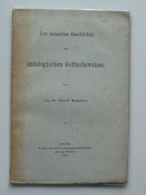 Photo of ZUR NEUESTEN GESCHICHTE DES ONTOLOGISCHEN GOTTESBEWEISES written by Bohatec, Josef published by A. Deichert'Sche (STOCK CODE: 990333)  for sale by Stella & Rose's Books